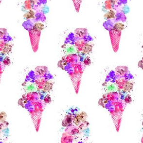 Blackberry ice cream cones • watercolor summer pattern in pink and purple