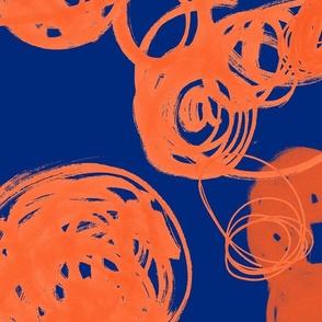 Swirly marks blue and orange
