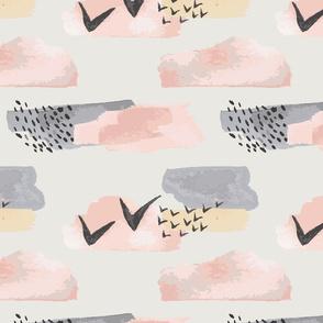 Minimal grey pink mustard pastel watercolor abstract shapes