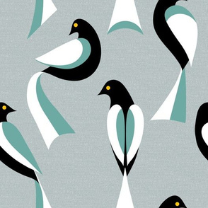 Minimalist Birds in Sage