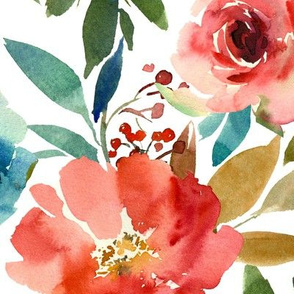 Large // Coral and Sapphire Watercolor Florals