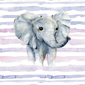 purple watercolor stripe elephant lovey 18x18""