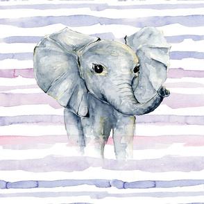 """purple watercolor stripe elephant lovey 18x18"""""""