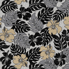 Vintage Hawaiian Hibiscus Floral Aloha Shirt Pattern - Neutral