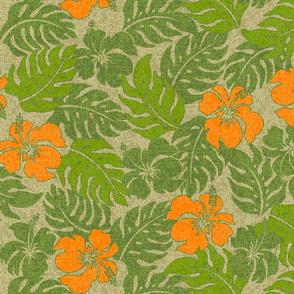 Vintage Hawaiian Hibiscus Floral Aloha Shirt Pattern-Khaki