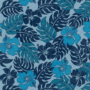 Vintage Hawaiian Hibiscus Floral Aloha Shirt Pattern- Indigo Denim