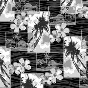 Hawaiian Plumeria and Palm Tree -Gray