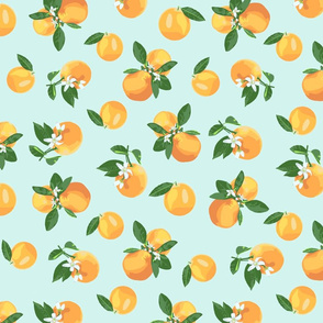 Scattered orange blossoms on baby blue