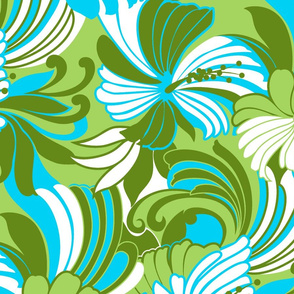 Retro Hawaiian Hibiscus Muu Muu Print- Lime Green