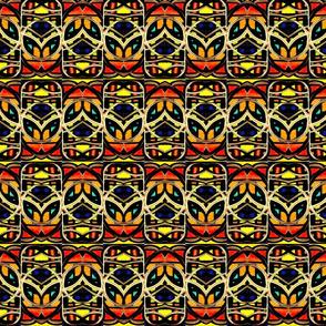 Orange Repeat Pattern Art Nouveau Shapes