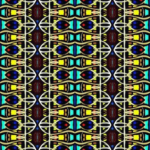 Colorful Geometric Curvilinear Repeat Pattern