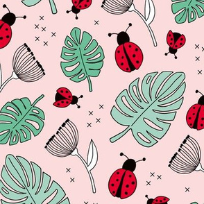 Little love lady bugs summer garden red pink green mint girls