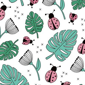 Little love lady bugs summer garden pink green mint on white girls