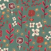 Retro flower garden - jade
