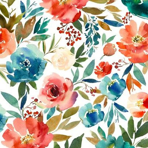 Medium // Coral and Sapphire Watercolor Florals