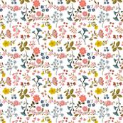 "SUMMER WOODLAND FLOWERS 7""x7""white"