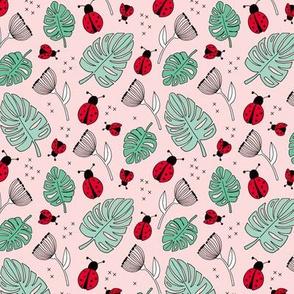 Little love lady bugs summer garden red pink green mint girls SMALL