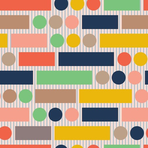 Retro Abstract Geometric Stripes Circles Rectangles Orange Blue Yellow Green Grey Pink UnBlink Studio Jackie Tahara