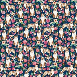 aussie dog floral (Tiny) fabric best red merle dogs fabric australian shepherd dogs fabric aussie dog fabric