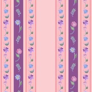Floral Stripe - Mauve And Pink