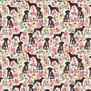 German Shorthair Pointer floral (TINY) dog breed fabric cream
