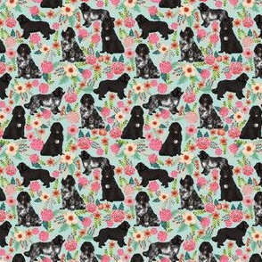 newfoundland dogs (TINY) newfoundlands landseer fabric cute dogs dog fabric dog florals