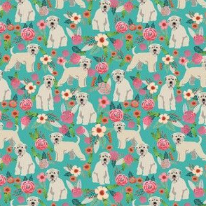 irish wheaten (SMALL) dog floral fabric - irish wheaten terrier fabric, soft coated wheaten terrier, dog florals, floral fabric, dog design - teal