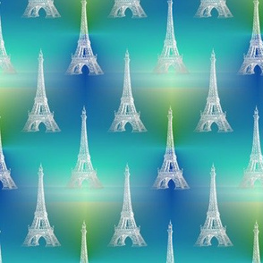 Eiffel Tower white blue green sea