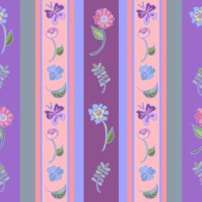 Floral Stripe - Mauve And Lavender