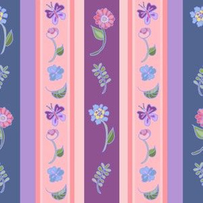 Floral Stripe - Mauve And Teal