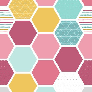 Pink Hexagons w Stripes, Dots and Triangles