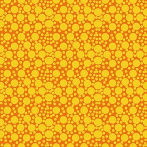 Yellow Polka Dots on Orange by DulciArt,LLC
