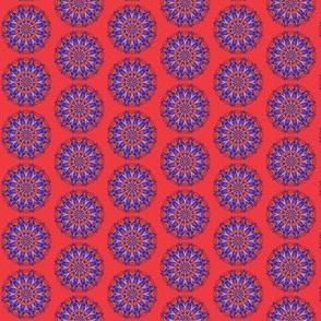 Stars and hearts mandala red