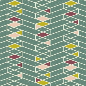 Stacked Lines Modern Minimal Green // abstract minimalist pattern modern lines geometric triangle green plum fabric