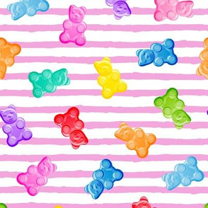 Gummy bears - candy - pink stripes -  LAD19
