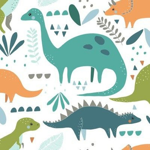 dinosaurs// orange, teal and green