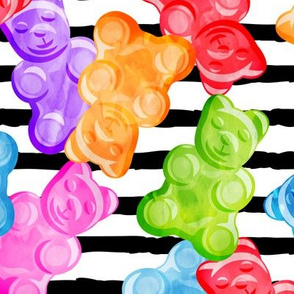 (jumbo scale) Gummy bears - tossed candy - stripes - LAD19