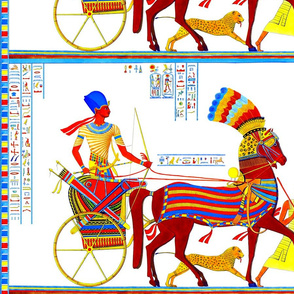ancient egypt egyptian pharaoh kings hieroglyphics colorful crowns chariots hunting hunter horses arrows bows leopard cheetah boy servants animals yellow red blue orange royalty tribal