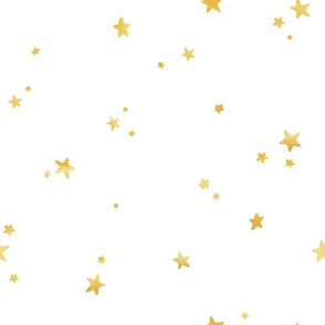 Faux Metallic Gold - Dreamy Gold Stars on White
