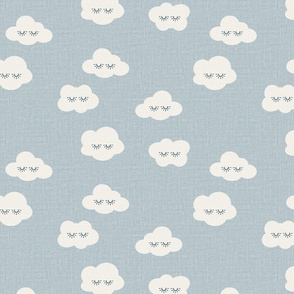 sleepy eyes clouds kids patterns blue and white rain clouds