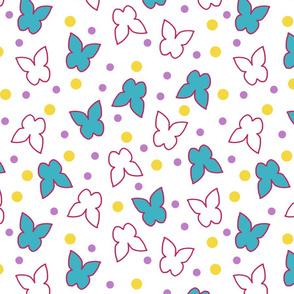 Fluttering Butterflies - white
