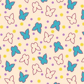 Fluttering Butterflies - sandy, blush, beige