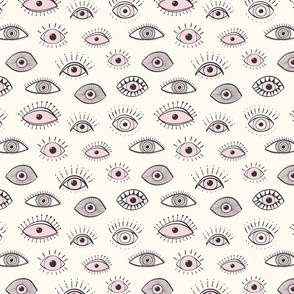 eyes - light pink on cream (medium scale)