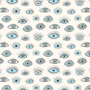 eyes - light blue on cream (medium scale)