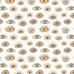 eyes - soft rusty yellow on cream (medium scale)