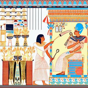 ancient egypt egyptian pharaoh kings hieroglyphics colorful crowns throne servants offerings Crook flail  heka nekhakha offerings tributes animals ankh trees giraffes birds animals yellow red blue orange royalty tribal  cobra snakes