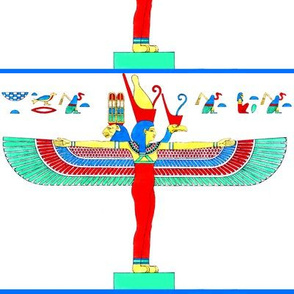 ancient egypt egyptian mother Maut Mout goddesses kings hieroglyphics Mut wings birds vultures lion colorful yellow red green blue crowns triple heads tribal  Isis similar