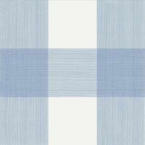 "6"" Strie Watercolor Buffalo Plaid Soft Blue Cream"