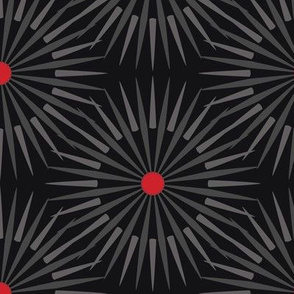 ★ DARK SUNSHINE ★ Gray, Red, Black - Large Scale / Collection : Abstract Geometric Prints