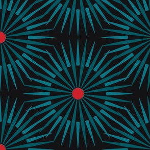 ★ DARK SUNSHINE ★ Teal, Red, Black - Large Scale / Collection : Abstract Geometric Prints